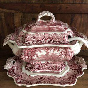 Mason's Vista Pink Ironstone Soup Tureen Set